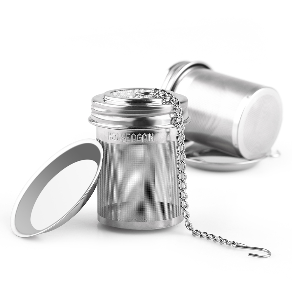 <strong>House Again Tea Infuser, Extra Fine Mesh Tea Ball Threaded Connection 18/8 Stainless Steel with Extended Chain Hook for Hanging on Teapots Mugs Cups to Brew Loose Leaf Tea </strong>