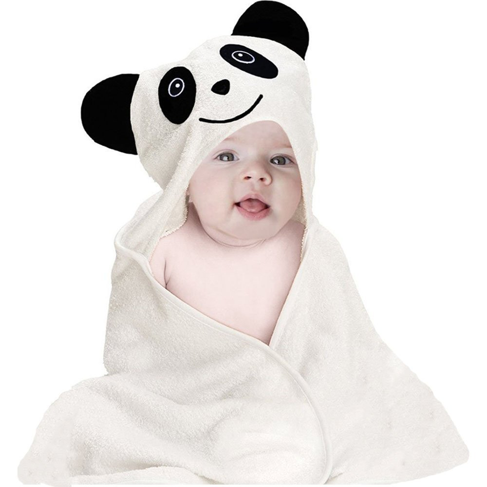Baby Hooded Bath Towel | Organic Bamboo | Extra Soft and Absorbent | Hypoallergenic and Antibacterial | Keep Warm and Dry Faster | Large 30x28-inch for Newborn Infant and Toddler | Animal Face, Panda